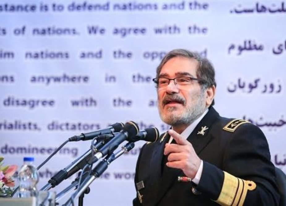 Secretary of Iran's Supreme National Security Council Ali Shamkhani addresses a conference on security in West Asia in Tehran, January 7, 2019. (Photo by Mehr News Agency)