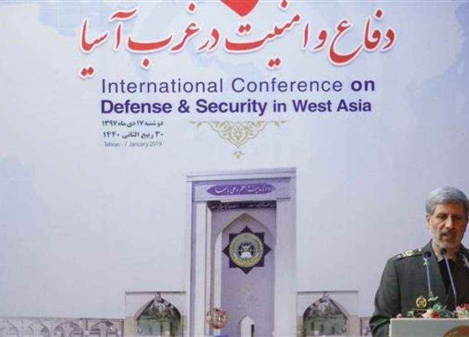 Iranian Defense Minister Brigadier General Amir Hatami addresses the International Conference on Defense and Security in West Asia in Tehran on January 7, 2019. (Photo by IRNA)