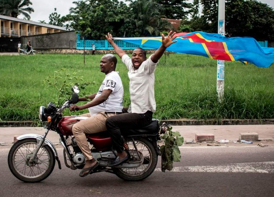 This file photo shows the supporters of President-elect of the Democratic Republic of the Congo Felix Tshisekedi celebrating in the streets in Kinshasa, the capital, on January 10, 2019. (By AFP)
