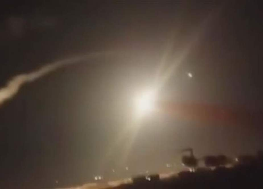 Syrian air defense systems intercept Israeli missiles in the skies near Damascus.jpg