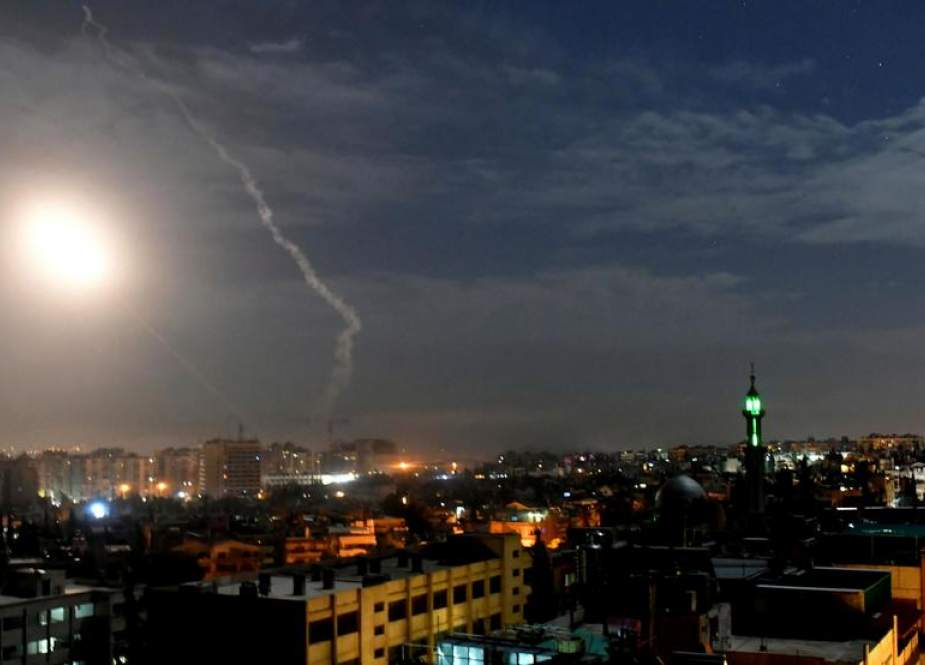 Syrian air defenses responding to new Israeli air raids near Damascus on Jan. 21, 2019