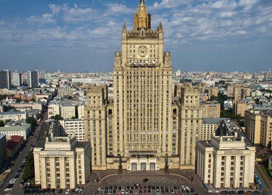 the file photo shows a view of the Russian Foreign Ministry building in Moscow