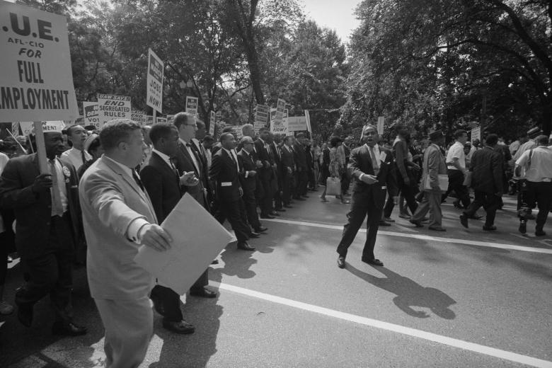 Martin Luther King Jr. is seen with other civil rights leaders leaders during the civil rights March on Washington, August 28, 1963.