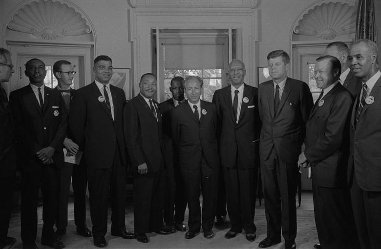 Civil rights leaders meet with President John F. Kennedy in the Oval Office of the White House following the civil rights March on Washington, August 28, 1963.