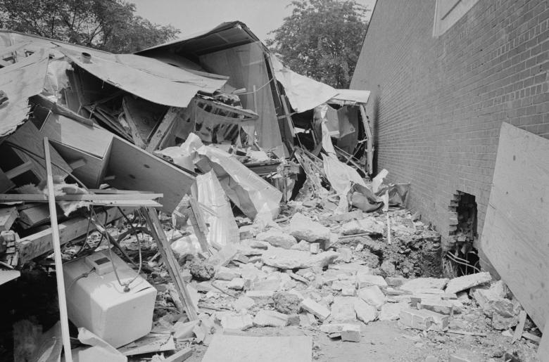 The wreckage of a bomb explosion near the Gaston Motel where Martin Luther King, Jr., and leaders in the Southern Christian Leadership Conference were staying during the Birmingham campaign of the Civil Rights movement, May 14, 1963.