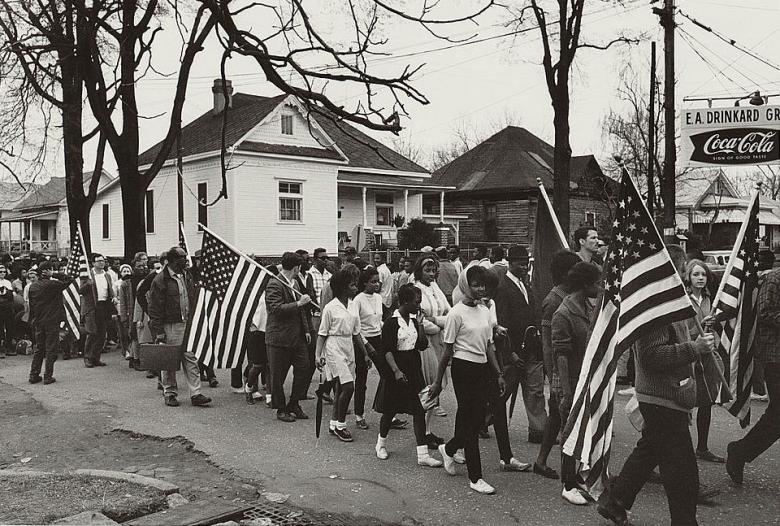 Participants march in a civil rights march from Selma to Montgomery, Alabama, 1965.