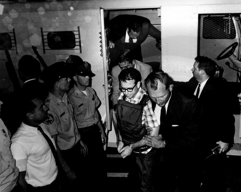 James Earl Ray, the man who assassinated Martin Luther King Jr., is transported in Memphis, Tennessee, 1968.