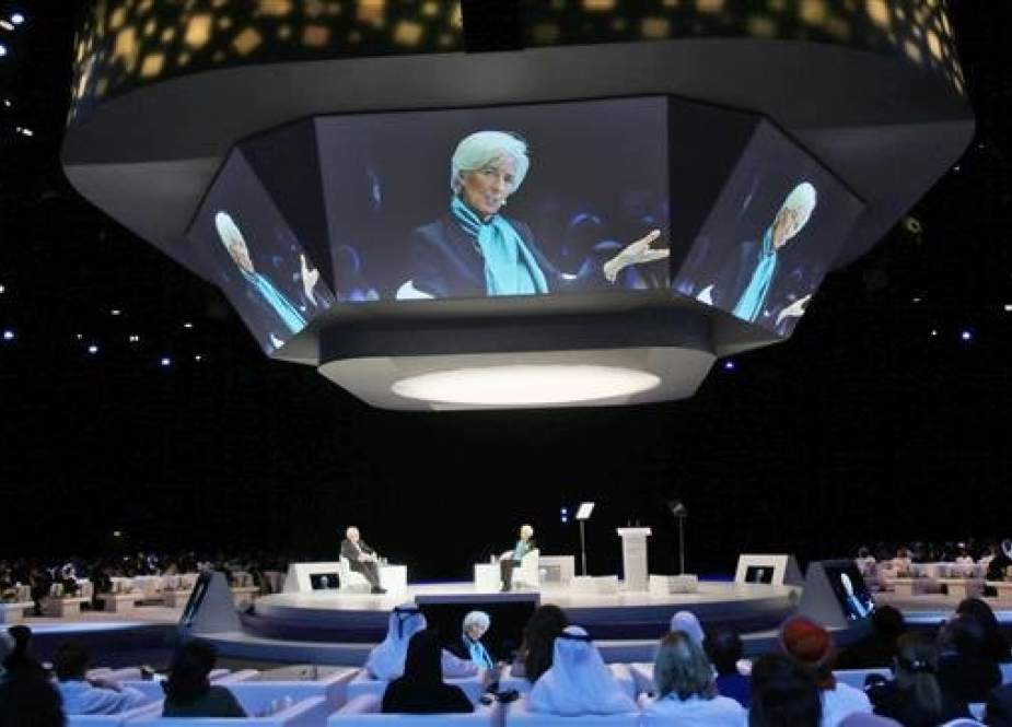 Christine Lagarde, head of the International Monetary Fund (IMF) talks at the opening day of the Global Women's Forum in Dubai, United Arab Emirates, February 23, 2016. (Photo by AP)