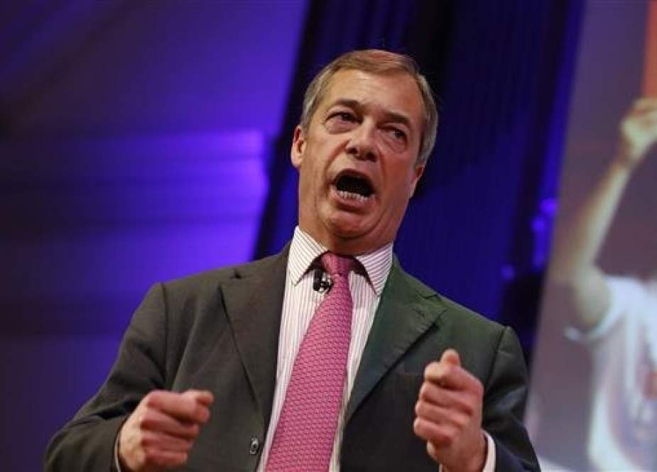 "In this file photo taken on January 17, 2019, MEP and former UKIP leader Nigel Farage speaks at a political rally entitled ""Let's Go WTO"" hosted by pro-Brexit lobby group Leave Means Leave in London. (AFP photo)"