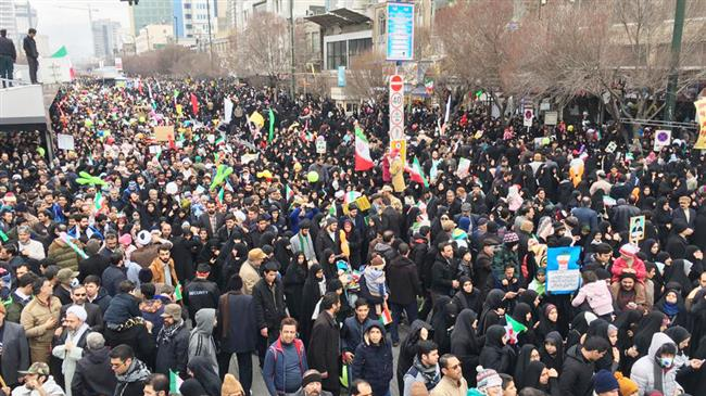 Iranians in Mashhad celebrate the anniversary of the 1979 Islamic Revolution, February 11, 2019.