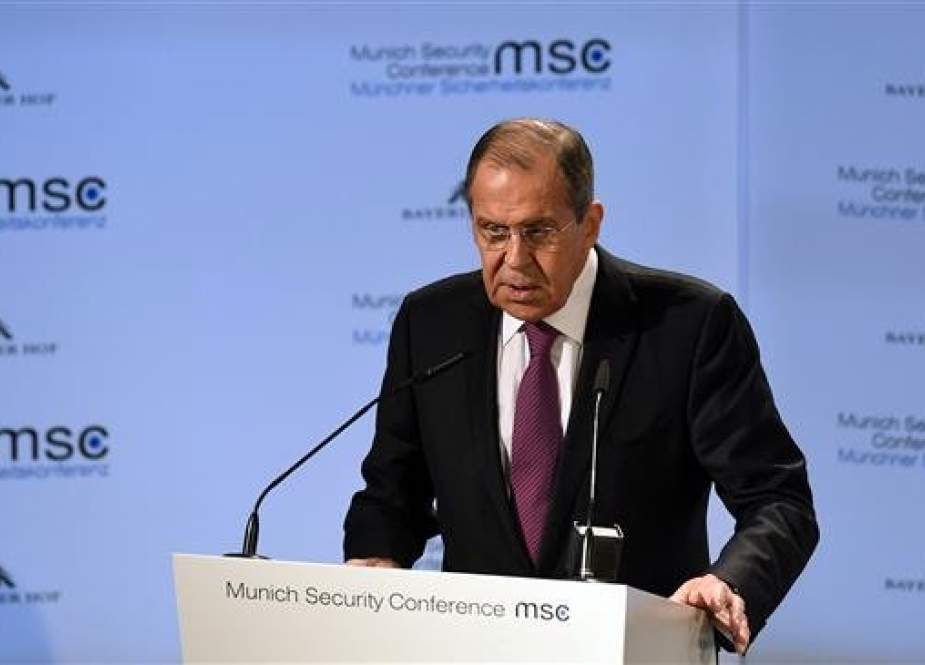 Russian Foreign Minister Sergei Lavrov speaks during the 55th Munich Security Conference in Munich, southern Germany, on February 16, 2019. (Photo by AFP)