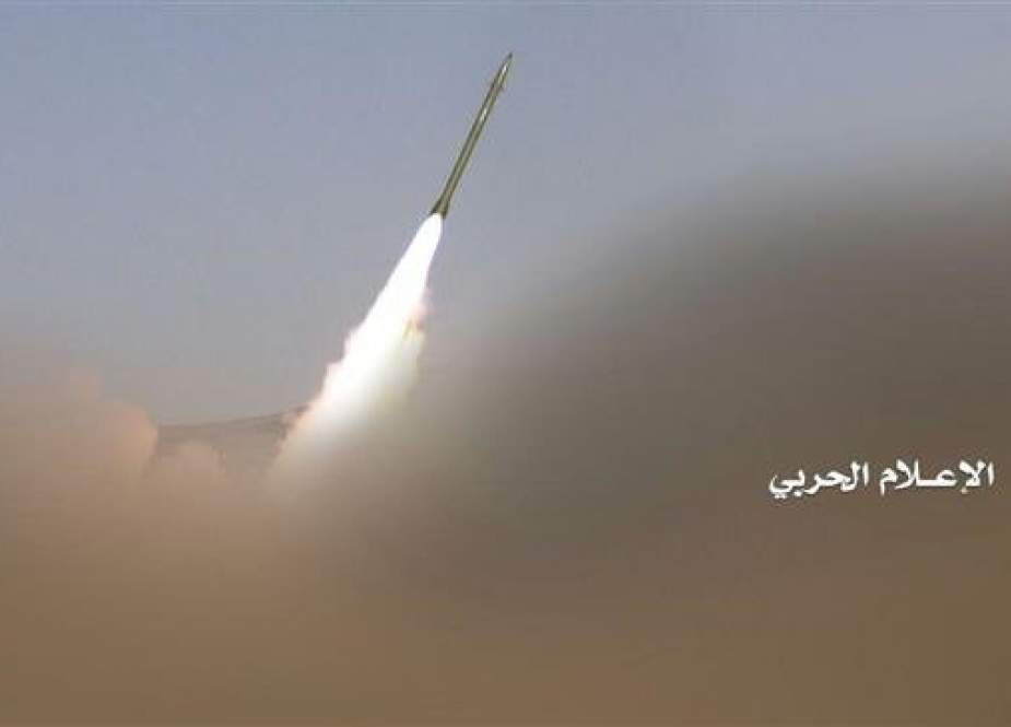 This file picture shows a domestically designed and manufactured Yemeni Badr p-1 short-range and high-precision ballistic missile shortly after launch. (Photo by the media bureau of Yemen's Joint Operations Command)