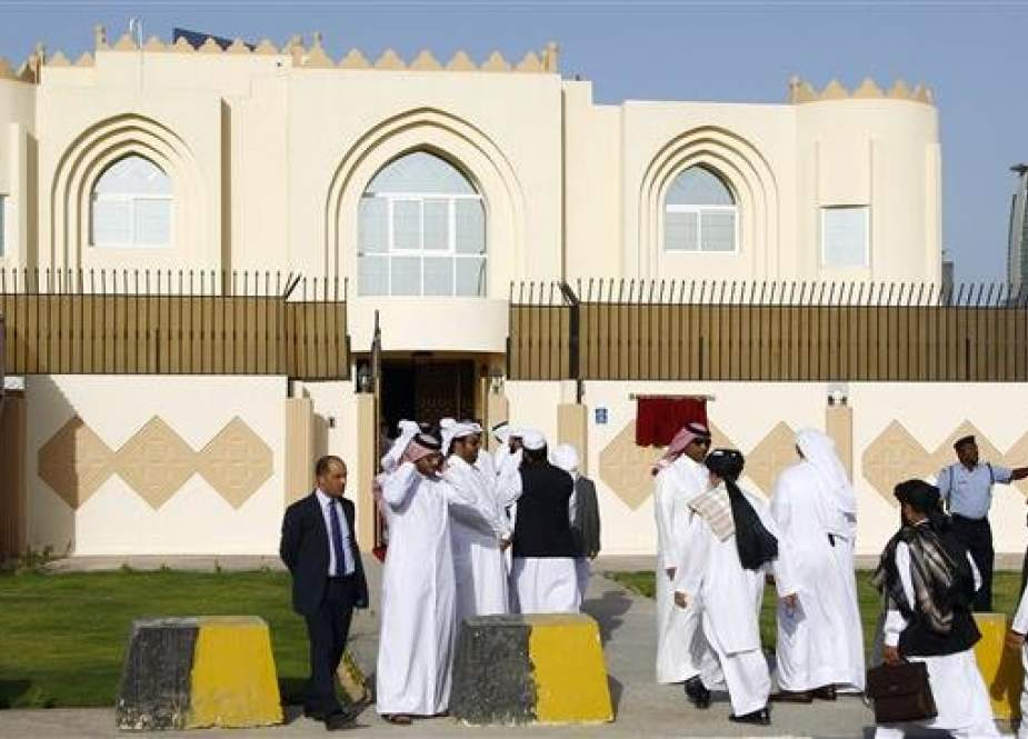 A view of the Taliban's office in Doha, Qatar