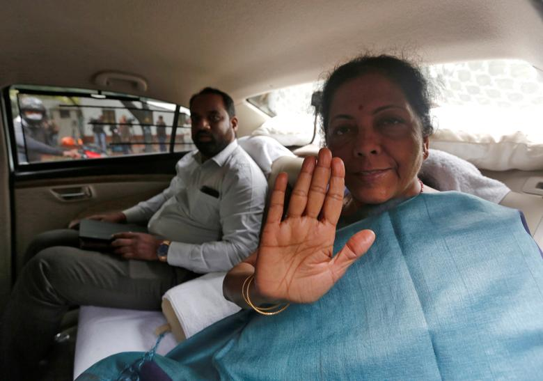 India's Defence Minister Nirmala Sitharaman gestures as she leaves after attending the Cabinet Committee on Security meeting at the prime minister's residence in New Delhi, India, February 26.