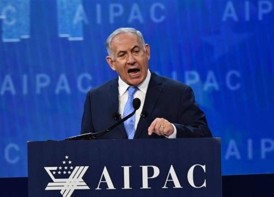 Israeli Prime Minister Benjamin Netanyahu speaks during the American Israel Public Affairs Committee (AIPAC) policy conference in Washington, DC, March 6, 2018. (AFP photo)