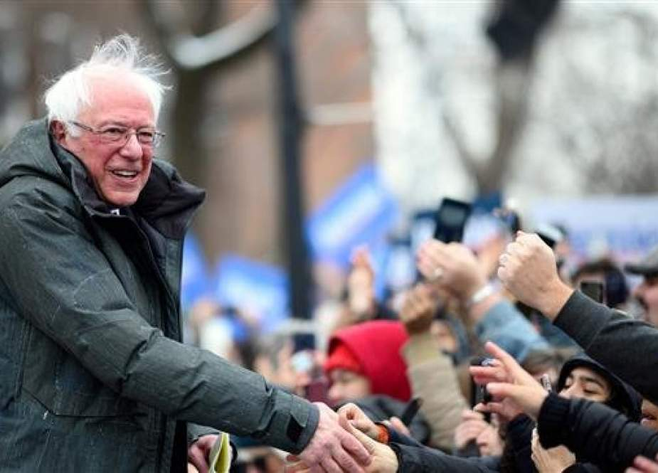 US Senator Bernie Sanders arrives for a rally to kick off his 2020 US presidential campaign, in the Brooklyn borough of New York City on March 2, 2019. (AFP photo)