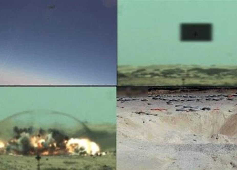 "A combo image provided by the Pakistani air force shows a fighter jet (Top-L) firing a ""smart weapon,"" the explosion on impact, and a crater left afterwards."