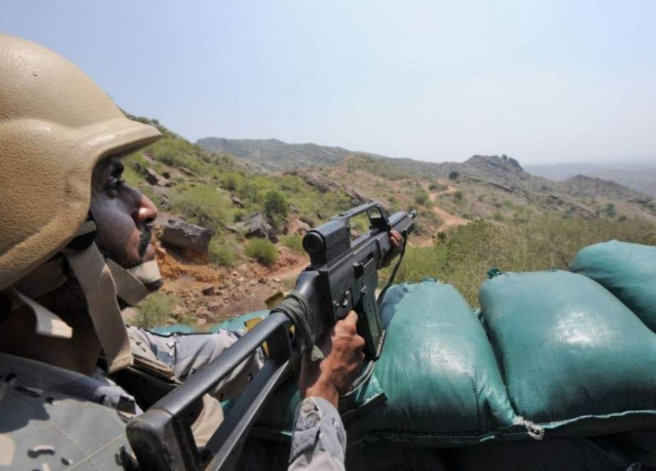 Saudi border guard keep watch along the border with Yemen