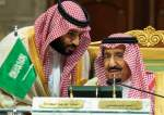 The handout picture provided by the Saudi Press Agency (SPA) on January 28, 2019 shows Crown Prince Mohammed bin Salman (R) speaking to his father King Salman bin Abdulaziz Al Sauda during a ceremony at a hotel in Riyadh.