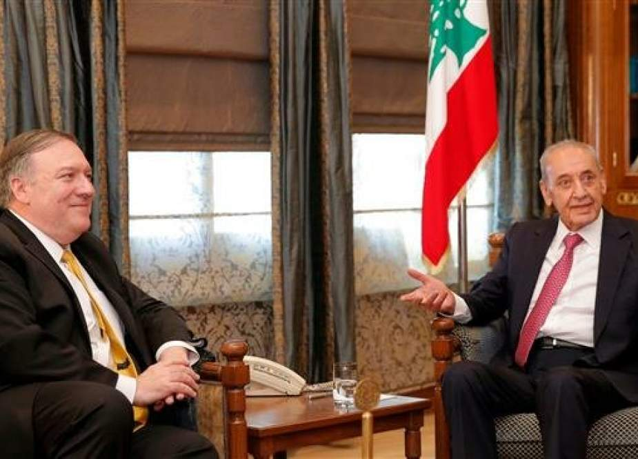 US Secretary of State Mike Pompeo (L) meets with Lebanese Parliament Speaker Nabih Berri (R) in Beirut on March 22, 2019. (AFP photo)