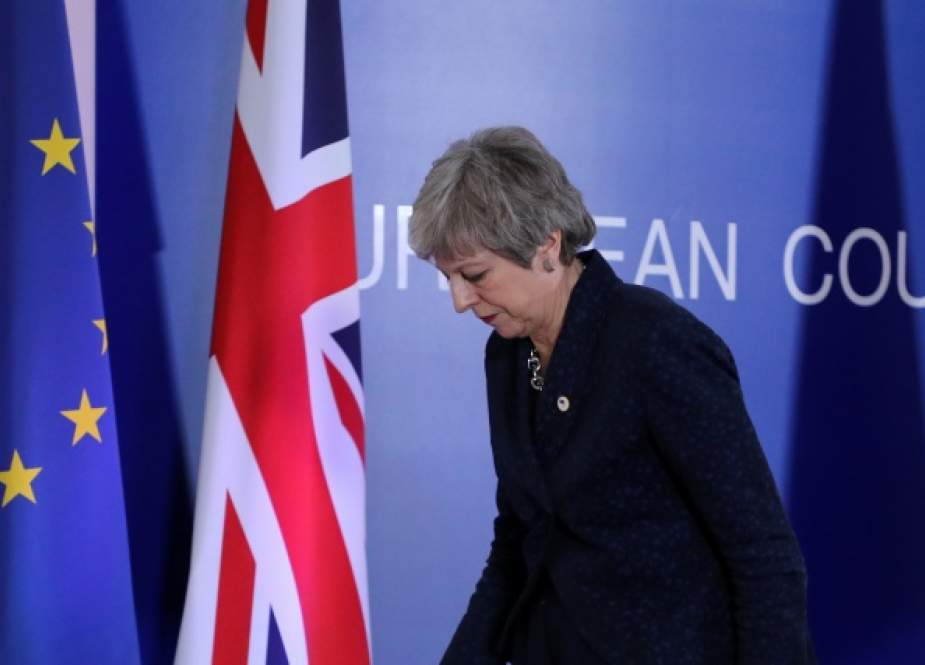 British Prime Minister Theresa May leaves a press conference on March 22, 2019, on the first day of an EU summit focused on Brexit, in Brussels.