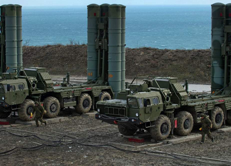 The file picture shows sophisticated Russian-made S-400 anti-aircraft missile systems in the Black Sea peninsula of Crimea, Russia.