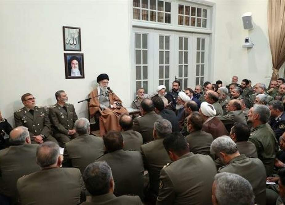 Leader of the Islamic Revolution Ayatollah Seyyed Ali Khamenei meets with military commanders in the capital Tehran on April 17.