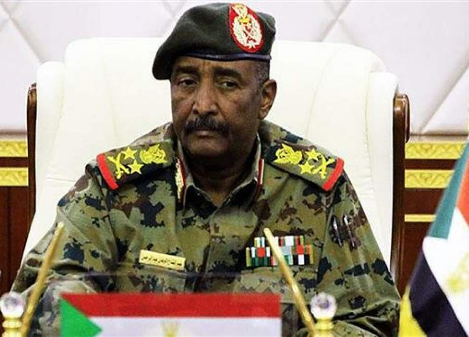A picture taken from the Twitter account of the official Sudan News Agency (SUNA) on April 16, 2019 shows Lieutenant General Abdel Fattah al-Burhan, the new chief of the military council in Sudan, attending a session in the capital, Khartoum. (Via AFP)