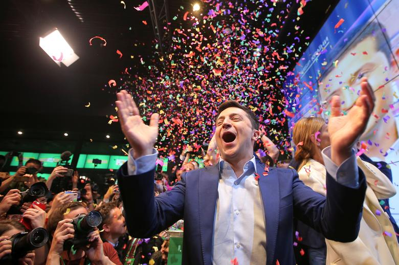 Volodymyr Zelenskiy, 41, who plays a fictional president in a TV show, won 73 percent of the vote on Sunday with Poroshenko winning just under 25 percent