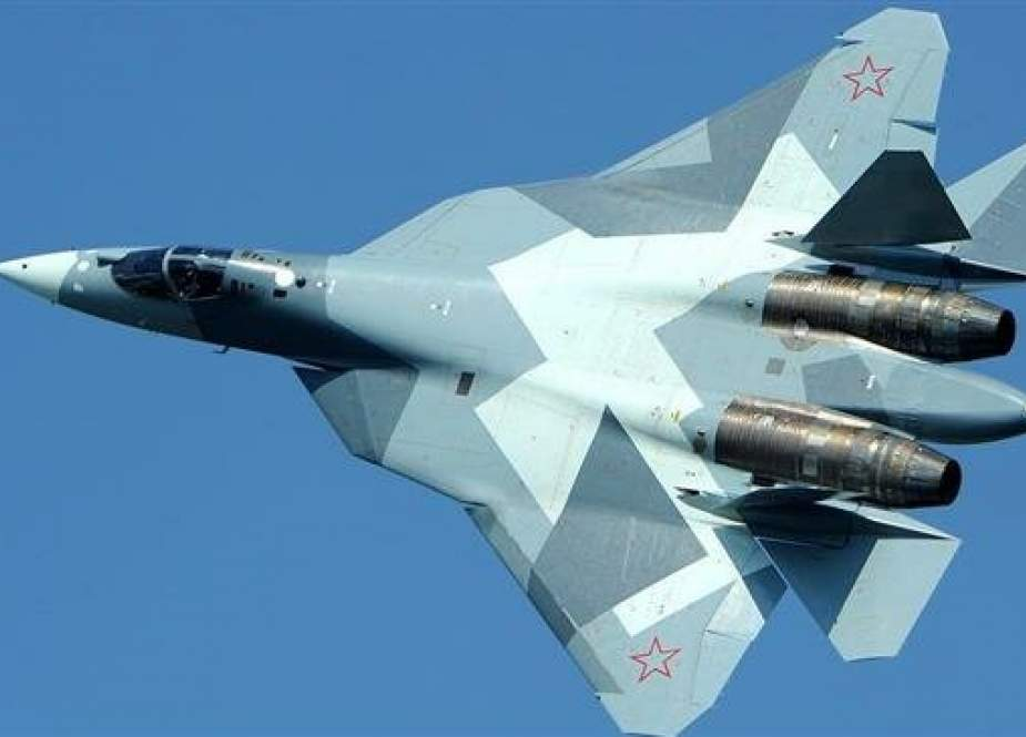 This file picture shows a Russian-built Sukhoi Su-57 fighter jet in flight.