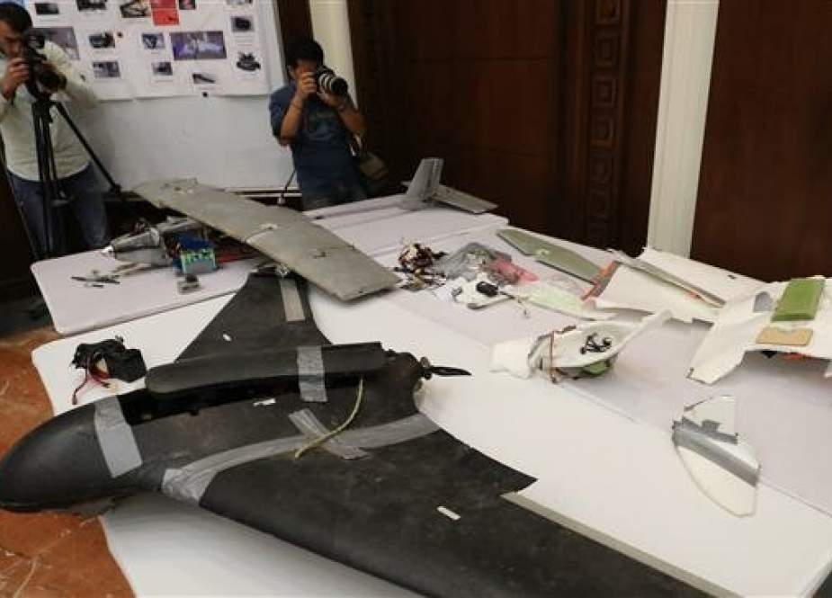 This file picture, taken on June 19, 2018, shows a drone that the Emirati armed forces say was used by Houthis in Yemen in battles against a Saudi-led coalition. (By AFP)