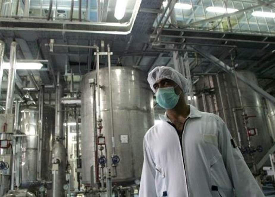 Iranian technician is pictured at the Isfahan Uranium Conversion Facility in central Iran.jpg