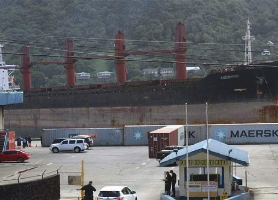 "North Korean cargo ship ""Wise Honest"" docked at a port in American Samoa."