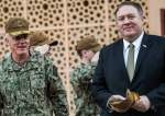 US Secretary of State Mike Pompeo walks with Vice Admiral James Malloy (L), commander of the US Naval Forces Central Command (NAVCENT)/5th Fleet, after a tour of the US Naval Forces Central Command center in Manama on January 11, 2019.
