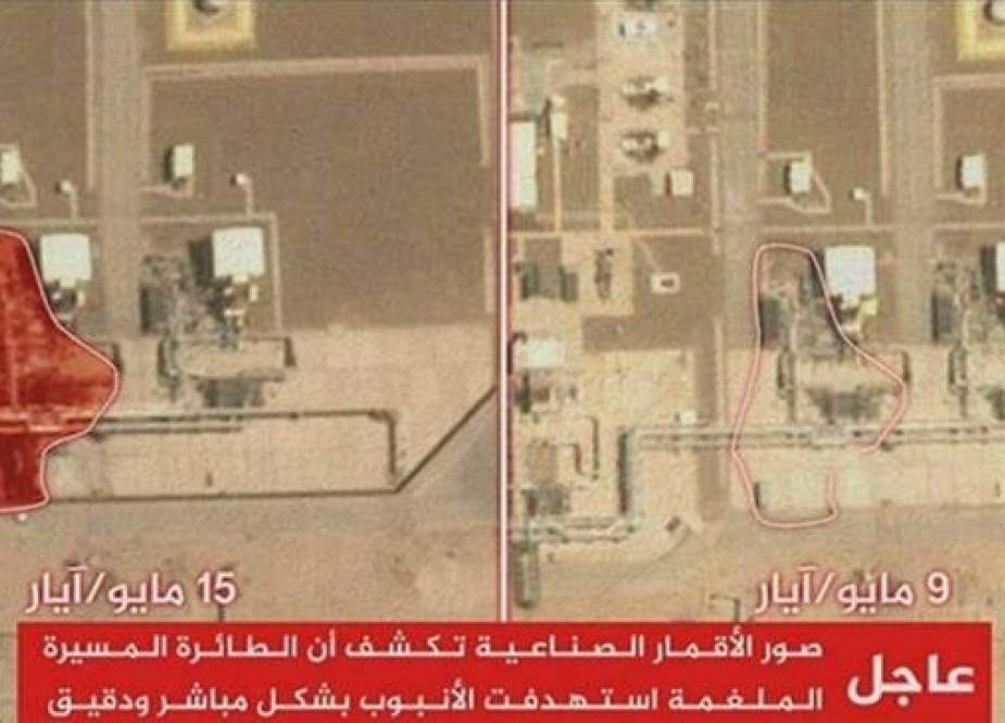 An aerial view of the Saudi Aramco Pump Station 8 before and after the recent retaliatory drone strikes by Yemen. (Source: Al Jazeera)