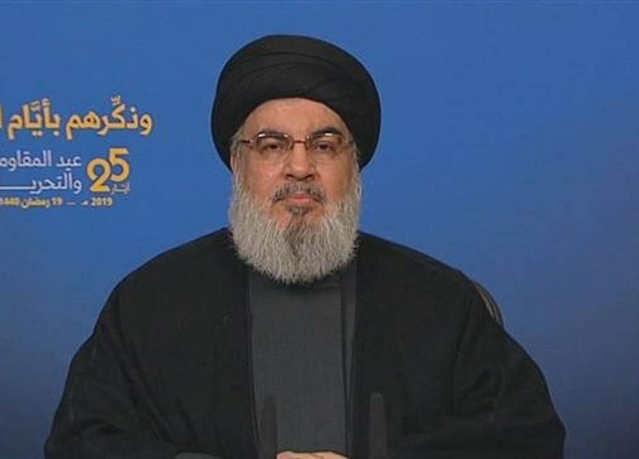 The secretary general of the Lebanese resistance movement Hezbollah, Sayyed Hassan Nasrallah, delivers a speech broadcast from the Lebanese capital Beirut, on May 25, 2019.