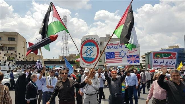 Iranians participate in Quds Day rallies on May 31, 2019