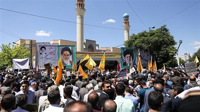 Iranians mark the International Quds Day in Tabriz, East Azerbaijan province on May 31, 2019