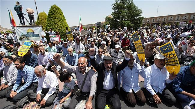 Iranians mark the International Quds Day in Isfahan, Isfahan province on May 31, 2019
