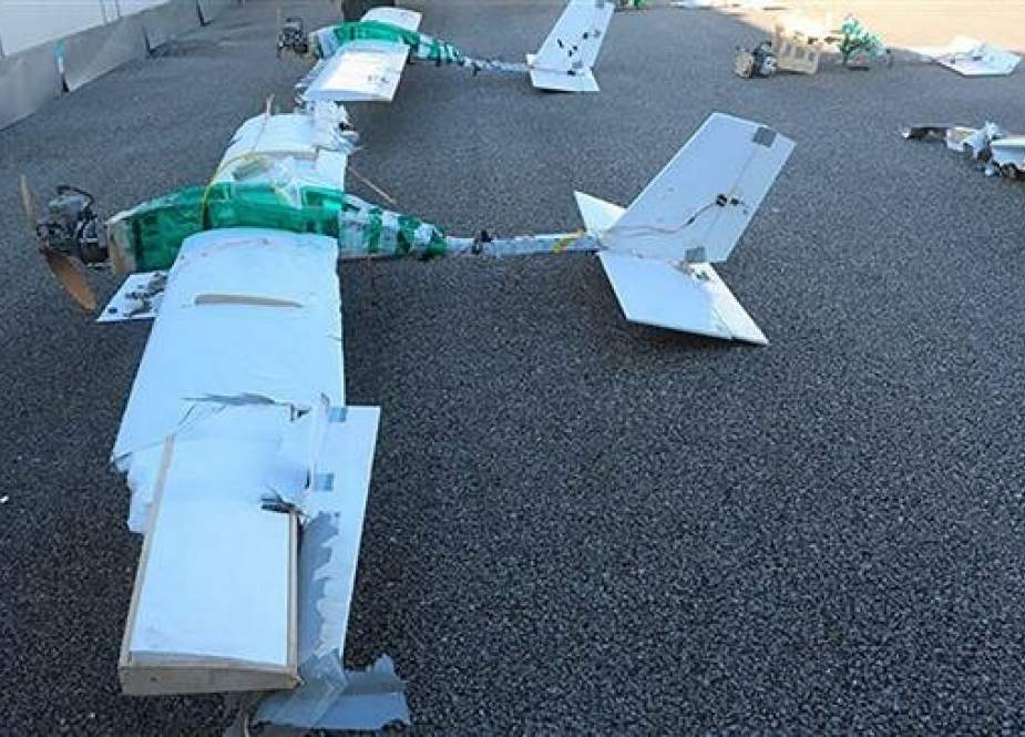 This file picture shows militant drones shot down by Russian forces over Hmeimim Air Base, southeast of the western Syrian city of Latakia in January 2018. (Photo by the Russian Defense Ministry)