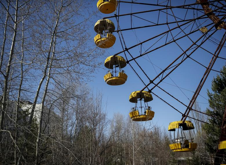 A ferris wheel is seen in the abandoned city of Pripyat