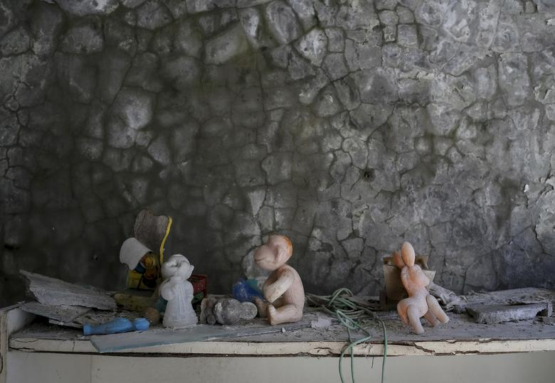 Toys left in a kindergarten in the abandoned city of Pripyat