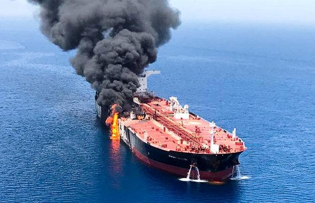 Attacks on two oil tankers on Thursday in the Gulf of Oman left one ablaze and both adrift, driving oil prices up over worries about Middle East supplies