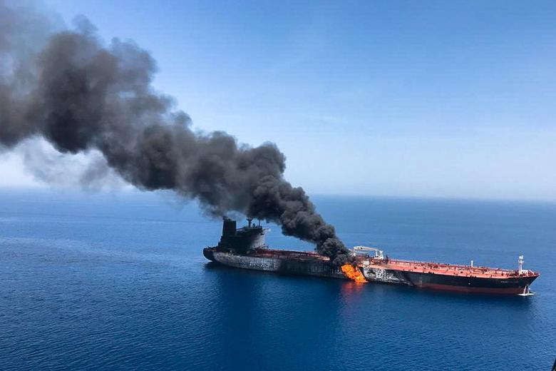 The Front Altair was on fire in waters between Persian Gulf Arab states and Iran after an explosion that a source blamed on a magnetic mine. The crew of the Norwegian vessel were picked up by a vessel in the area and passed to an Iranian rescue boat