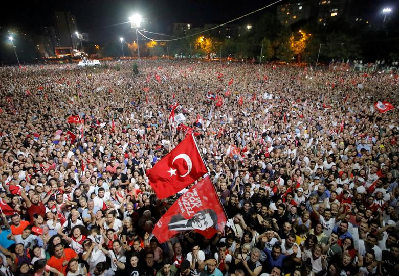 Supporters attend a rally of Ekrem Imamoglu, mayoral candidate of the main opposition Republican People's Party (CHP), in Beylikduzu district, in Istanbul, Turkey, June 23, 2019. Turkey's opposition has dealt President Tayyip Erdogan a stinging blow by w