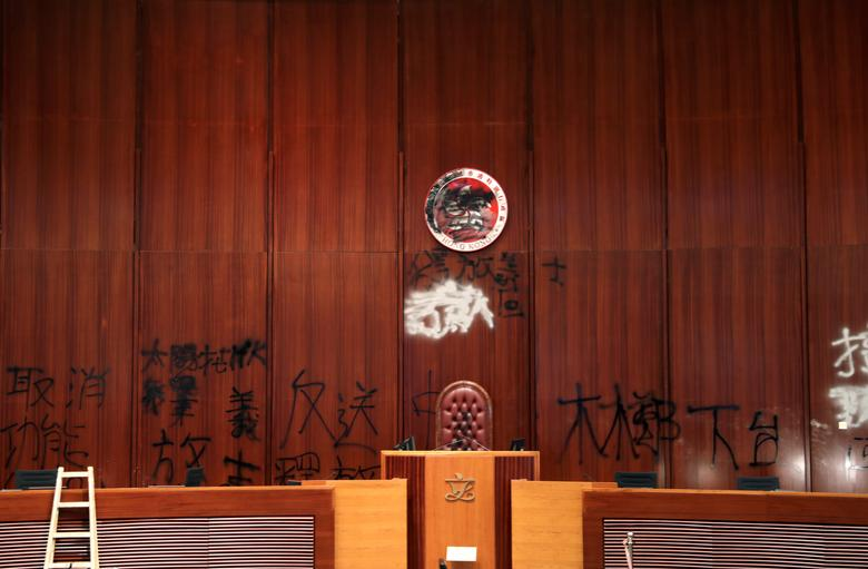 A view shows damages inside the Legislative Council building after protesters stormed it during a demonstration on the anniversary of Hong Kong's handover to China, in Hong Kong, China July 3, 2019. Police fired tear gas to disperse hundreds of protester