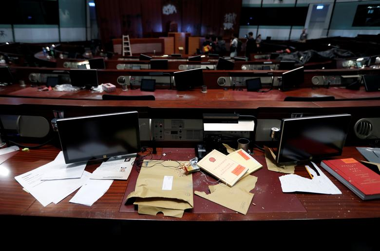 Damage inside the Legislative Council building