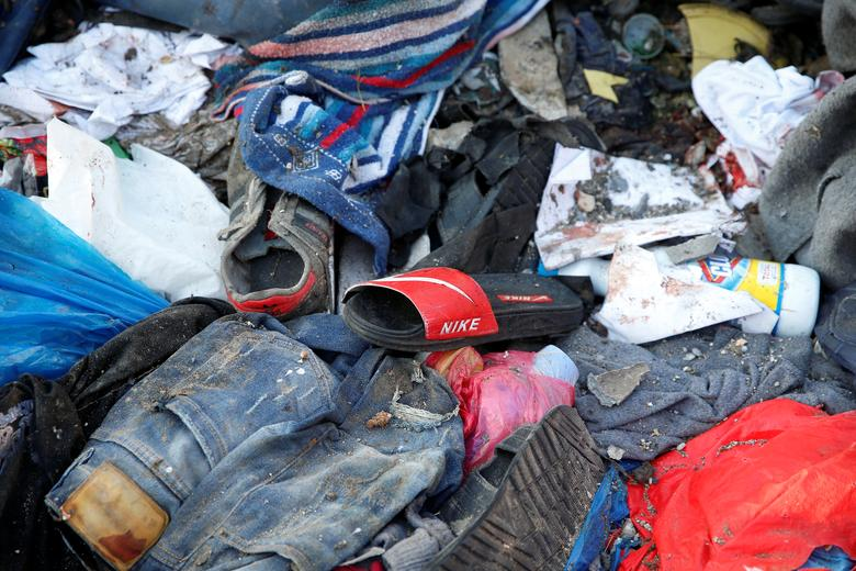Belongings of migrants are seen at a detention centre for mainly African migrants, hit by an airstrike in the Tajoura suburb of Tripoli, July 3. Libya is one of the main departure points for African migrants, fleeing poverty and war, to try to reach Ital