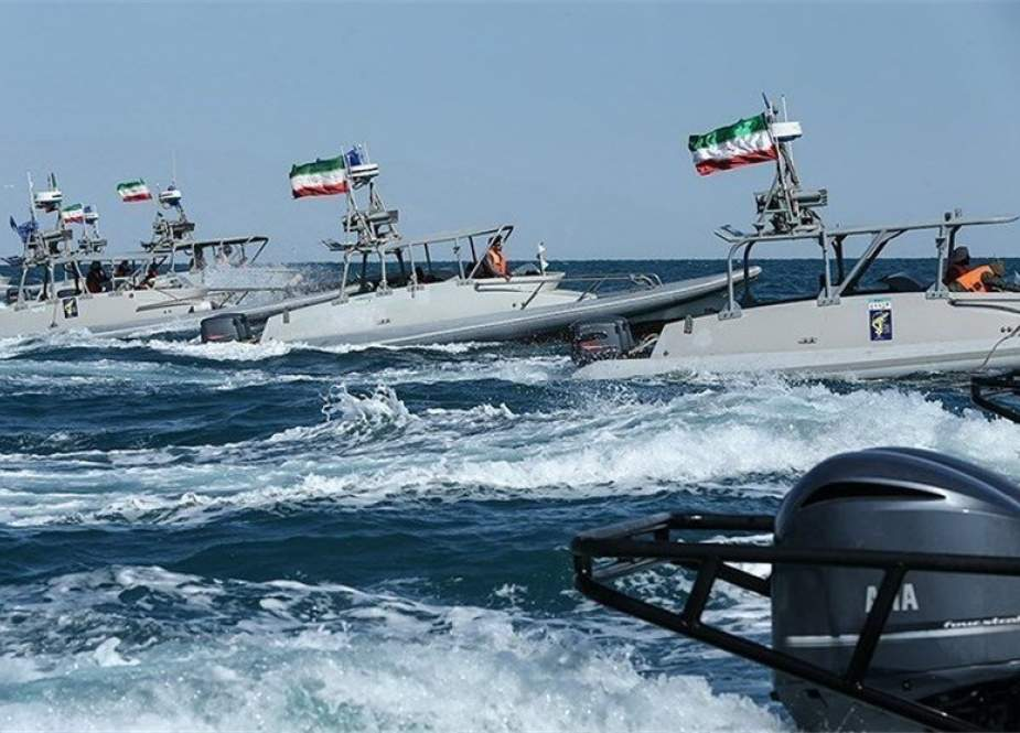 Iran military forces during a drill in the Strait of Hormuz in the Persian Gulf waters.