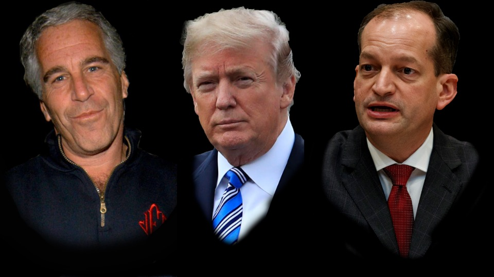 Jeffrey Epstein(R), Donald Trump, and Alex Acosta(L)